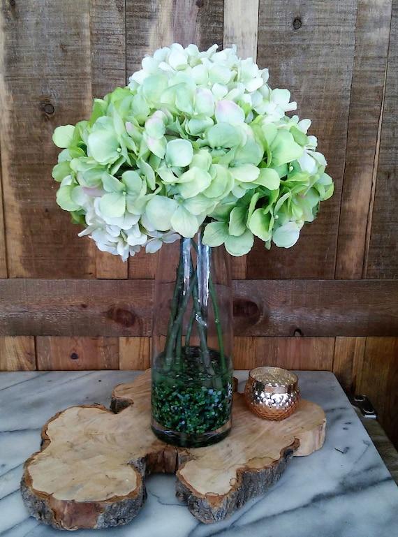 Green Hydrangea Faux Floral Arrangement Artificial Flower Etsy