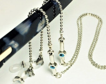 9bdfc1a4058d Evil Eye Glasses Chain ∫ Silver Glasses Chains ∫ Glasses Lanyard Necklace ∫  Spectacles Chain Holder ∫ Reading Glasses Gift For Her