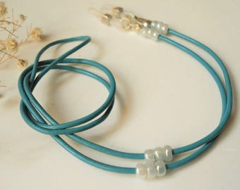 "Blue Leather Eyeglass Chain ∫ 24"" Beads Glasses Cord holder ∫ Sunglasses Neck Strap ∫ Eyeglasses Eyewear Chains ∫ Jewelry Accessory Leash"