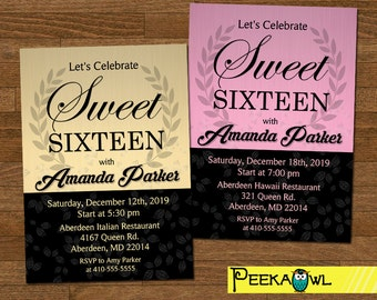 Personalized Girls Sweet 16 Birthday Invitation card - Sweet Sixteen birthday party invites - Girls Sweet 16 birthday - Girls Birthday Party