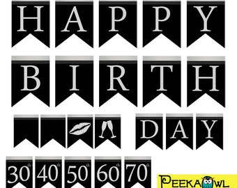 instant download black gold birthday banners printable happy etsy