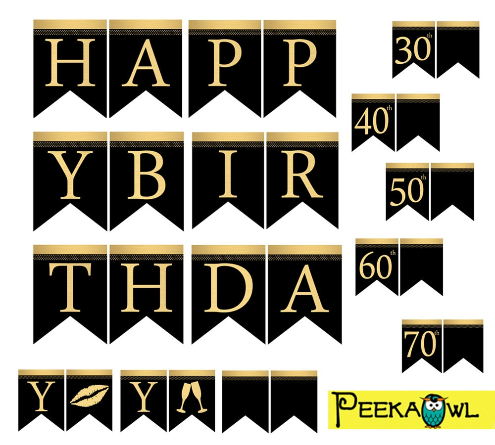 Instant Download Black Gold Birthday Banners Printable