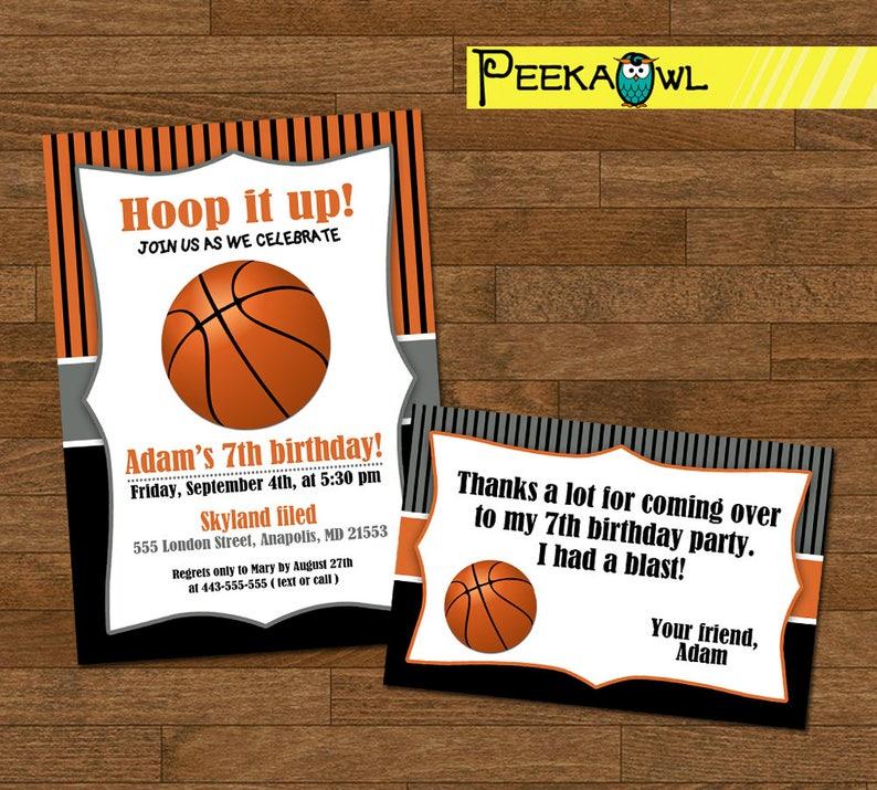 Printable Basketball invitations - Boys basketball birthday invitation -  Boys basketball party - Basketball invites - Basketball thank you!