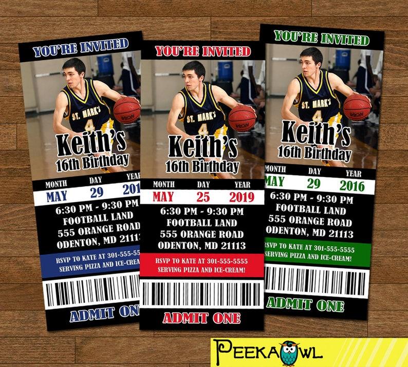 Printable Boys Basketball invitation ticket - Basketball birthday  invitation - Basketball invitations - Boys birthday invitation!!!