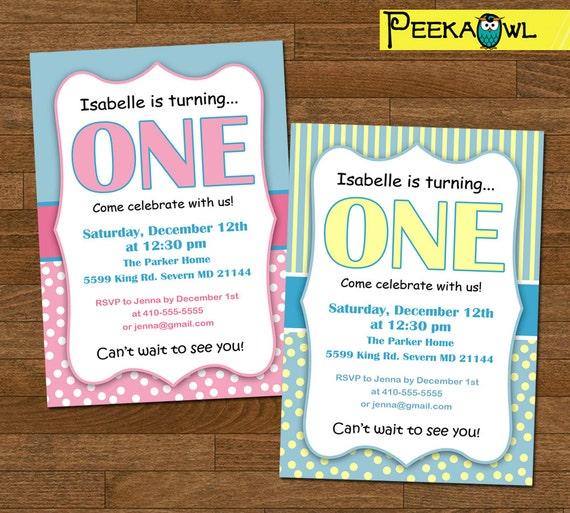 Printable Polka Dots Striped 1st Birthday Invitations