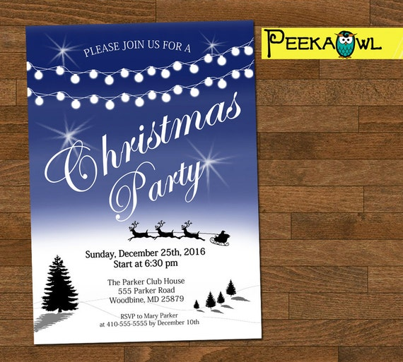 Personalized Christmas Party Invitation Digital Christmas Etsy
