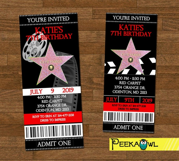 Printable Hollywood Birthday Party Invitation Ticket Red