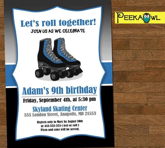Printable Boys Roller Skate Birthday Invitation