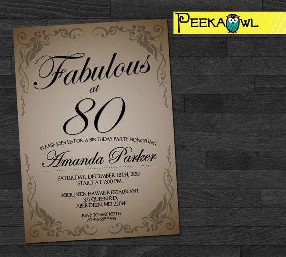 Customized 80th Birthday Invitation 30th 40th 50th 60th