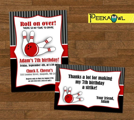 Bowling Party Invitation Card Printable Bowling Invitation Bowling Birthday Party Boys Bowling Invitation Bowling Thank You Cards