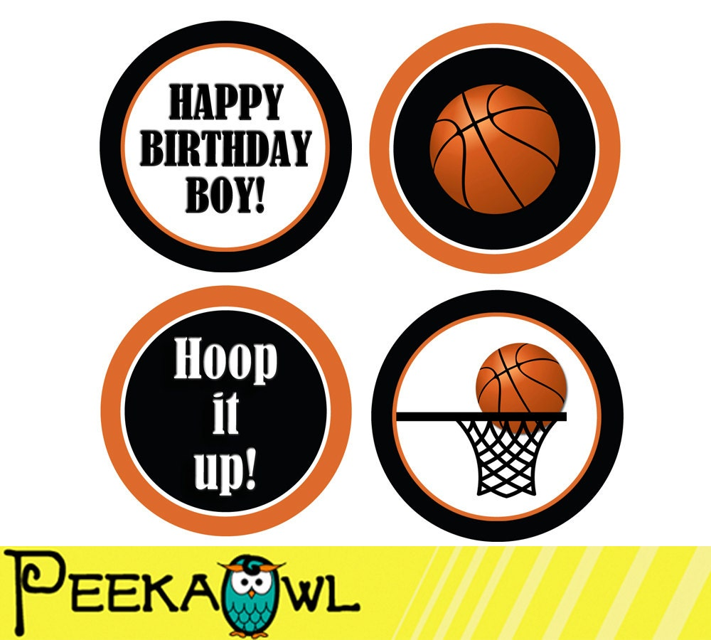 Instant Download Basketball Cupcake Toppers Printable Etsy