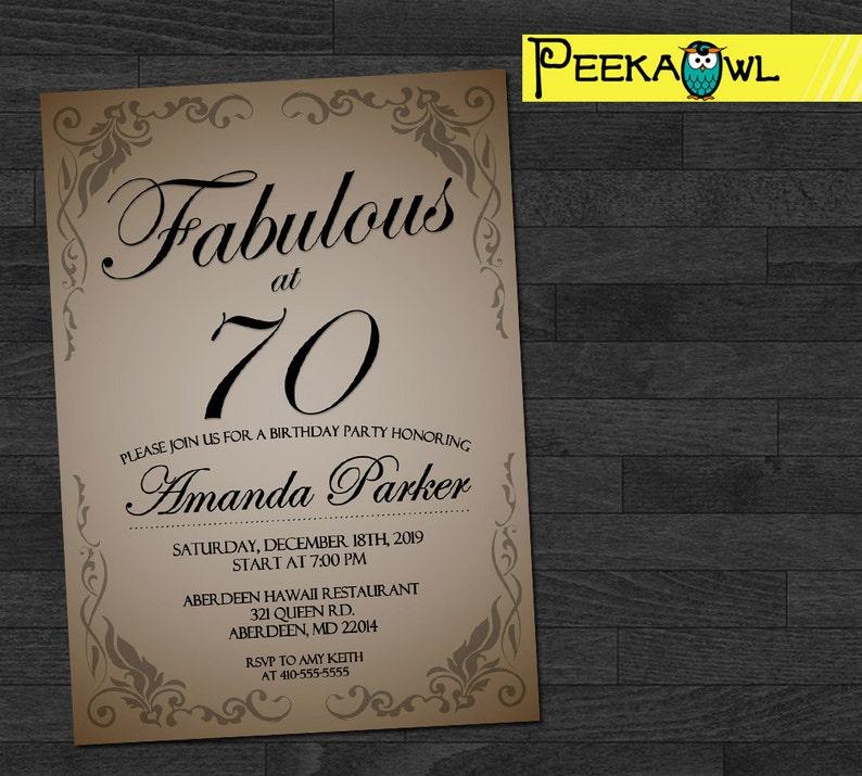 Customized 70th Birthday Invitation 30th 40th 50th 60th