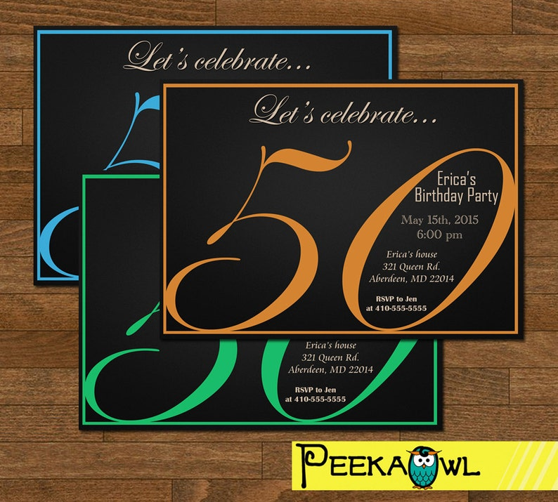 Printable 50th Birthday Invitation Card Party Invite Adult DIY Digital Only