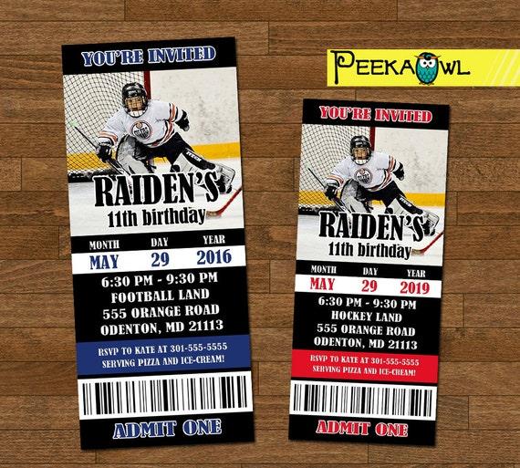 Printable Boys Hockey Invitation Ticket Boys Hockey Birthday Etsy