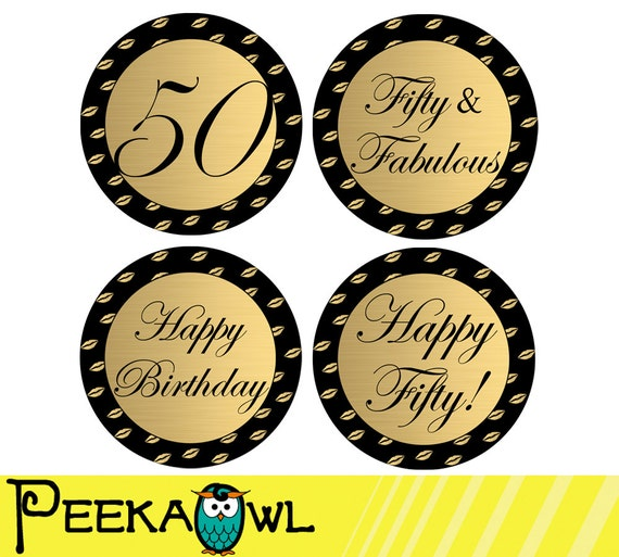 Instant Download 50th Birthday Cupcake Toppers And