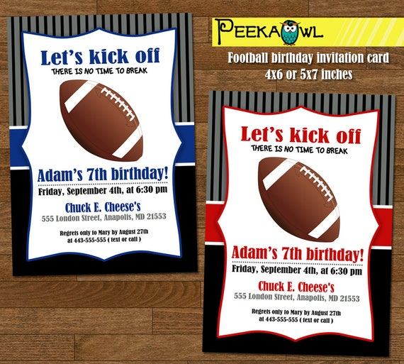Printable Boys Football Birthday Invitation Card Birthday Invites Football Birthday Invitation Free Football Birthday Thank You Card