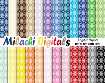 Argyle Digital Paper Scrapbook Papers Background Wallpaper Commercial Use Printable