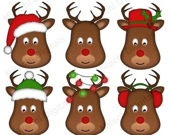 50 OFF SALE Christmas Reindeer Clipart Head Holiday Clip Art Commercial Use Instant Download