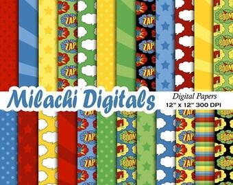 50 OFF SALE Superhero Digital Paper Comic Book Scrapbook Papers Polka Dots Wallpaper Background Stars Starburst