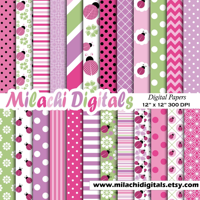 Pink Ladybug Digital Paper 1st Birthday Scrapbook Papers Etsy