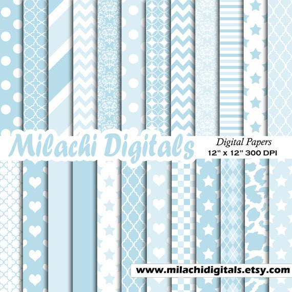 Its A Boy Digital Paper Stars Scrapbook Papers Stripes Wallpaper Background Polka Dots M574