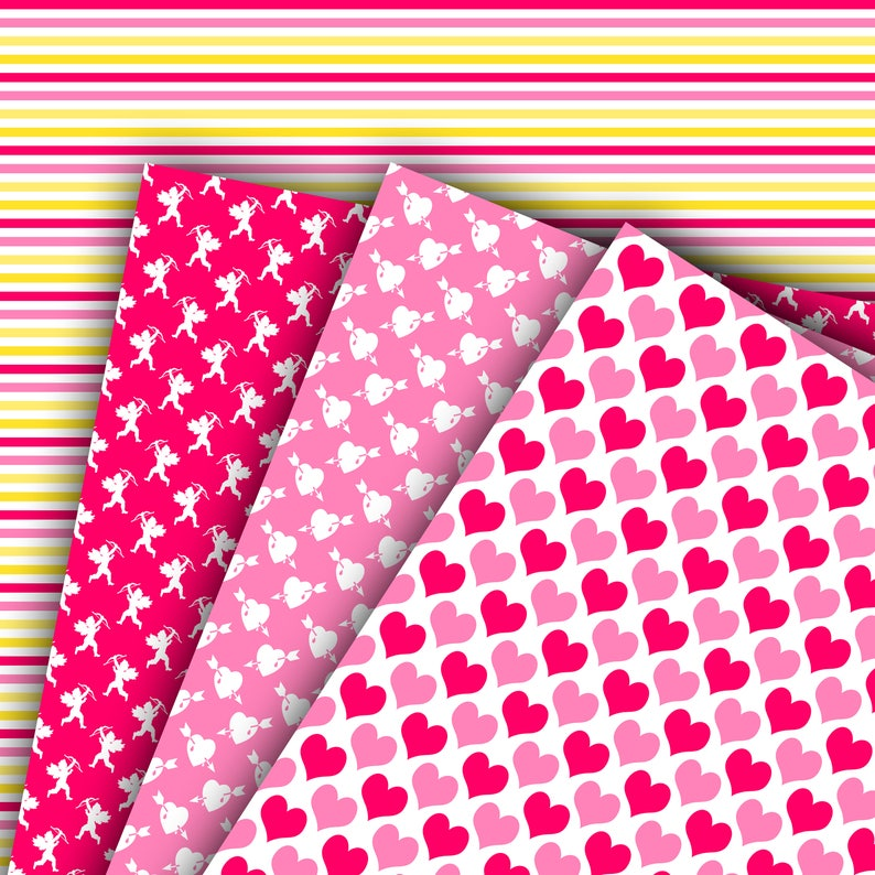 M611 70/% OFF SALE Valentine digital paper background cupid digital paper valentine/'s day scrapbook papers hearts wallpaper