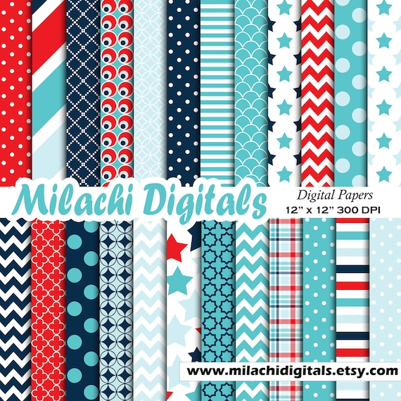 Baby Boy Digital Paper Its A Boy Scrapbook Papers Baby Shower Wallpaper Polka Dots Background Stars And Stripes M473