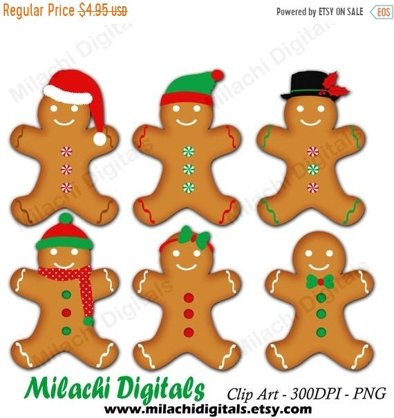 70 Off Sale Gingerbread Man Clipart Holiday Clipart Gingerbread Cookies Clipart Digital Clip Art Commercial Use M431
