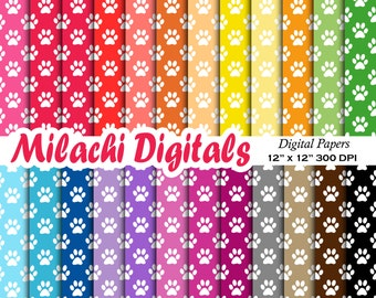 Paw print digital papers, animal scrapbook papers, wallpaper, dog background, commercial use - M497