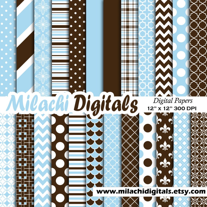 Brown And Blue Digital Paper Scrapbook Papers Background Etsy