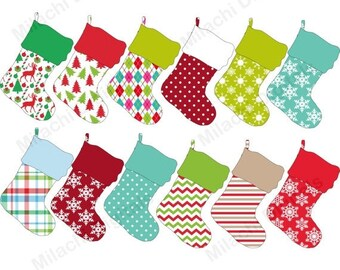 60% OFF SALE Christmas stocking digital clip art, holiday stocking clipart, commercial use, instant download - M416