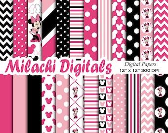 Minnie mouse digital paper, scrapbook papers, wallpaper, minnie background, polka dots, chevron, stripes - M405