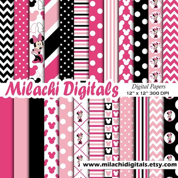 Minnie Maus digitales Papier, Scrapbook Papiere, Tapeten, Minnie  Hintergrund, Polka Dots, Chevron, Streifen - M405