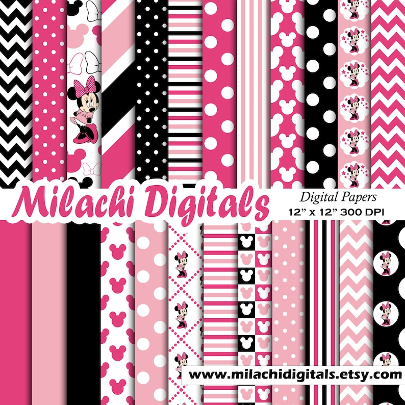 Minnie mouse digital paper scrapbook papers wallpaper image 0