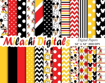 Mickey mouse digital paper, scrapbook papers, wallpaper, mickey background, polka dots, chevron, stripes - M403