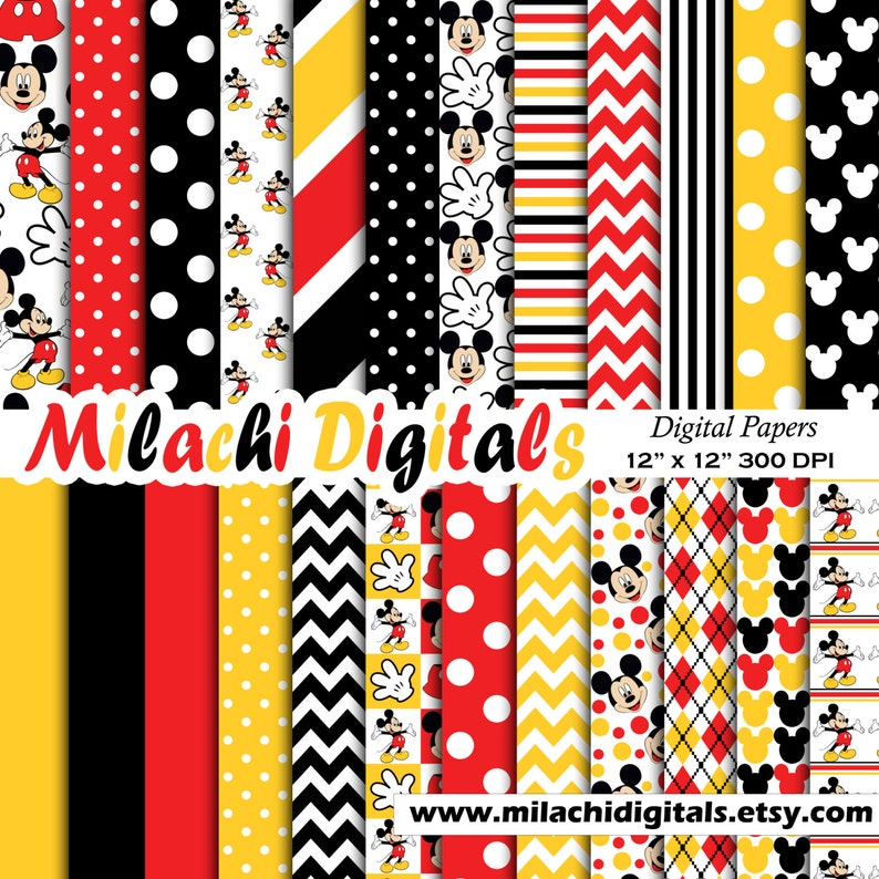 Mickey mouse digital paper scrapbook papers wallpaper image 0