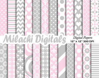 Light pink and light gray digital paper baby shower scrapbook papers invitation background wallpaper commercial use - M632