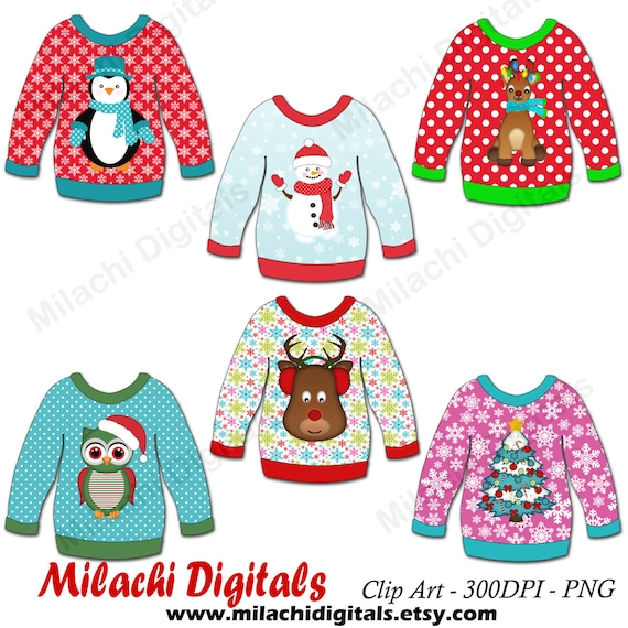 Christmas Sweater Clipart.Ugly Christmas Sweater Clipart Christmas Clipart Vector Graphics Sweater Clipart Digital Clip Art Commercial Use M444