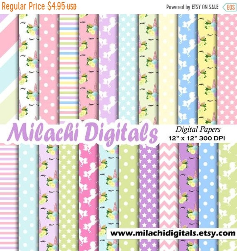 73592d7a93fda 70% OFF SALE Unicorn face digital paper, scrapbook papers, background,  unicorn wallpaper, patterns, polka dots, stars, commercial use - M624