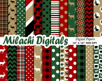 Lumberjack digital paper, buffalo plaid scrapbook papers, woodland wallpaper, moose background - M409