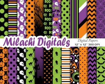 Halloween digital paper, trick or treat scrapbook papers, boo wallpaper, Halloween, spooky, boo, background - M554