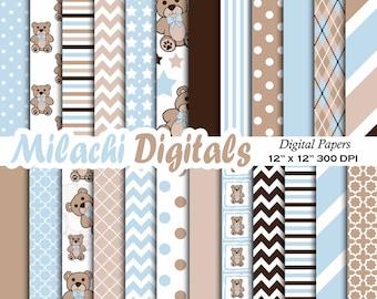 Blue Teddy Bear digital paper, background, scrapbook papers, stripes, chevron, polka dots, baby boy - M331