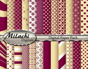 60% OFF SALE Maroon and Vanilla Digital Paper Pack, Scrapbook Papers, Commercial Use - Instant Download - M95
