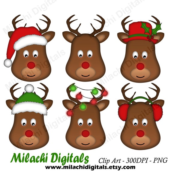 christmas reindeer clipart reindeer head clipart holiday etsy christmas reindeer clipart reindeer head clipart holiday clip art commercial use instant download m425