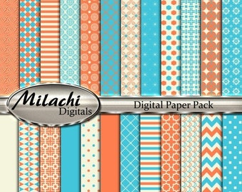 60% OFF SALE Turquoise Beige Coral Digital Paper Pack, Scrapbook Papers, Commercial Use - Instant Download - M183