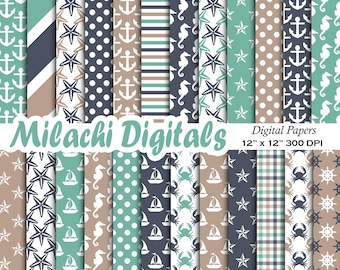 Nautical digital paper, Ahoy scrapbook papers, anchor background, starfish wallpaper, boat, stars, seahorse, commercial use - M641