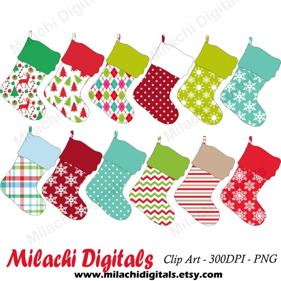 Christmas Stocking Clipart.Christmas Stocking Digital Clip Art Holiday Stocking Clipart Commercial Use Instant Download M416