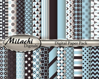 60% OFF SALE Light Blue and Charcoal Digital Paper Pack, Scrapbook Papers, Commercial Use - Instant Download - M88