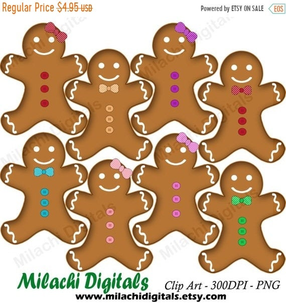 60 OFF SALE Gingerbread Man Clipart Holiday