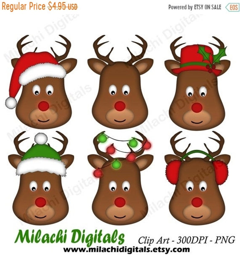Christmas Reindeer.70 Off Sale Christmas Reindeer Clipart Reindeer Head Clipart Holiday Clip Art Commercial Use Instant Download M425